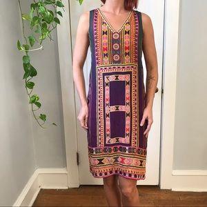 TANVI KEDIA Silk Ornate Ombré Midi Anthro Dress